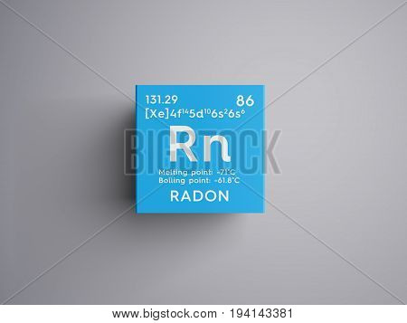 Radon. Noble gases. Chemical Element of Mendeleev's Periodic Table. Radon in square cube creative concept.