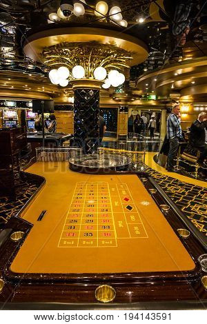 Cruise liner Splendida - June 23, 2017: Gaming casino table interior of Cruise liner Splendida, MSC