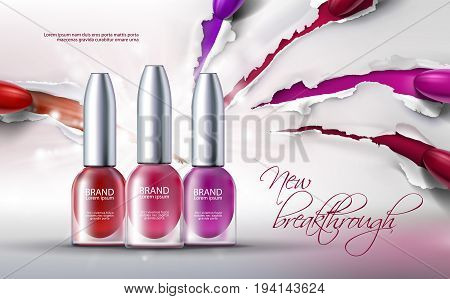 Vector illustration of a realistic style collection of colored nail polish on a scratched paper background. Excellent advertising posters for promoting of premium product, new breakthrough