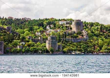 Old fortress architecture sea view in Istanbul, Turkey