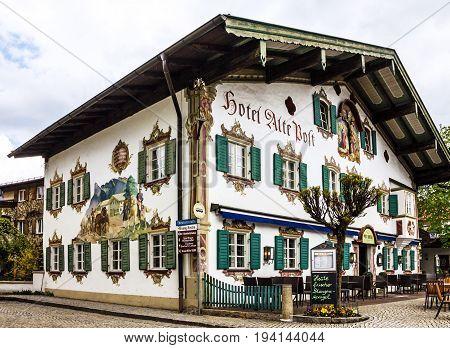 BAVARIA, GERMANY - MAY 7, 2015: Painting house in village Oberammergau Bavaria Germany