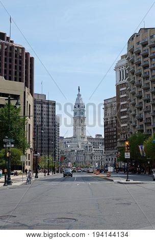 PHILADELPHIA - APRIL 25, 2016: Benjamin Franklin Pkwy with City Hall on background in Philadelphia, Pennsylvania, USA