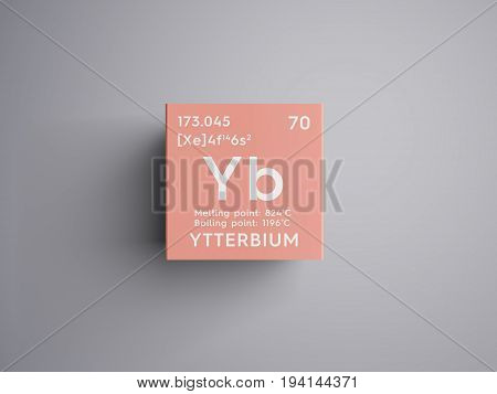 Ytterbium. Lanthanoids. Chemical Element of Mendeleev's Periodic Table. Ytterbium in square cube creative concept.
