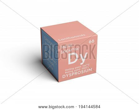 Dysprosium. Lanthanoids. Chemical Element of Mendeleev's Periodic Table. Dysprosium in square cube creative concept.