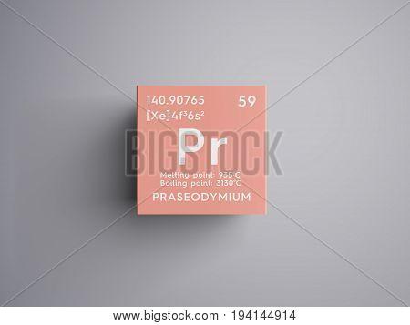 Praseodymium. Lanthanoids. Chemical Element of Mendeleev's Periodic Table. Praseodymium in square cube creative concept.