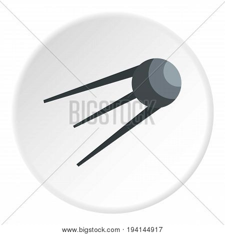Satellite icon in flat circle isolated vector illustration for web