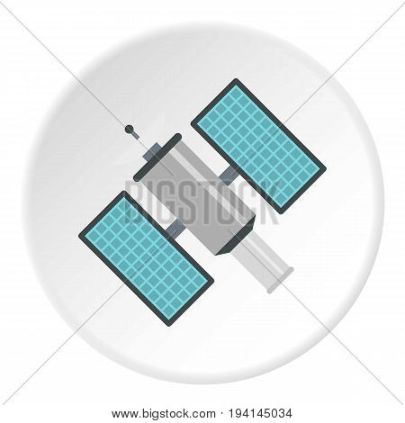 Satelite icon in flat circle isolated vector illustration for web