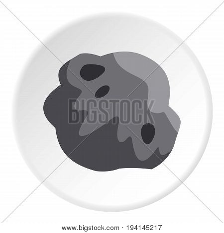 Asteroid icon in flat circle isolated vector illustration for web