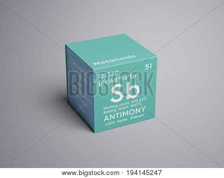 Antimony. Stibium. Metalloids. Chemical Element of Mendeleev's Periodic Table. Antimony in square cube creative concept.