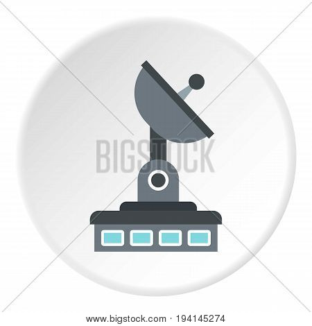 Observatory icon in flat circle isolated vector illustration for web