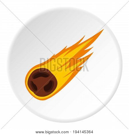 Flame meteorite icon in flat circle isolated vector illustration for web