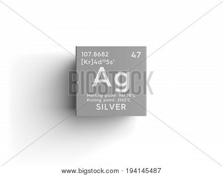 Silver. Transition metals. Chemical Element of Mendeleev's Periodic Table. Silver in square cube creative concept.