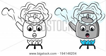Boiling kettle cartoon vector colored illustration sketch