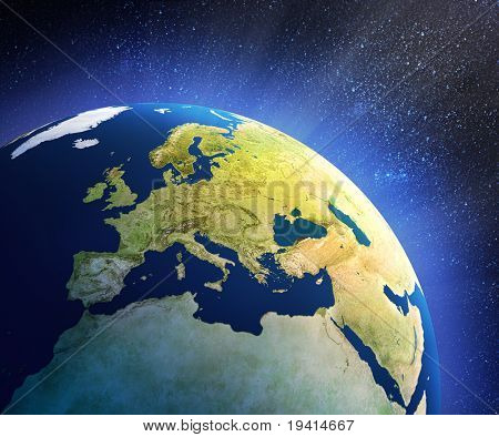 Planet Earth In Space With Focus On European Countries (3d Source Maps- Http://visibleearth.nasa.gov