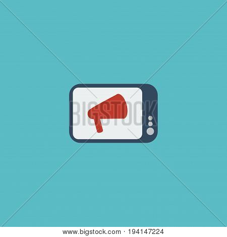 Flat Icon Ads Element. Vector Illustration Of Flat Icon Television Isolated On Clean Background. Can Be Used As Television, Ad And Bullhorn Symbols.