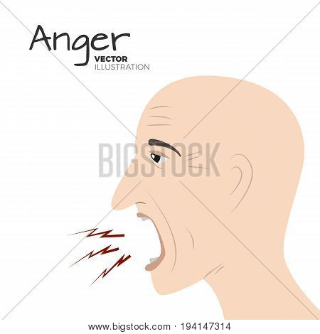 Vector head sketched silhouette of a screaming angry bold man. Negative emotion illustration. Anger illustration. Hand drawn, clean realistic style, isolated on white background.