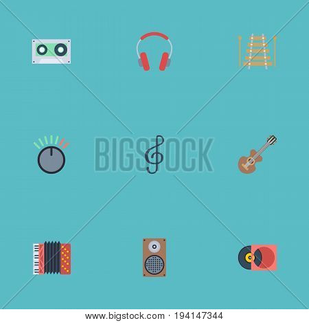 Flat Icons Earphone, Audio Box, Acoustic And Other Vector Elements. Set Of Audio Flat Icons Symbols Also Includes Quaver, Cassette, Instrument Objects.