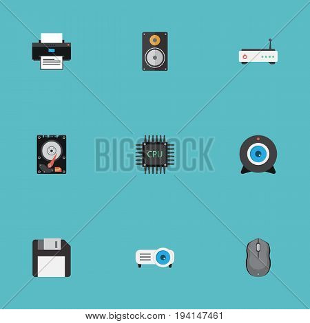 Flat Icons Hard Disk, Printer, Diskette And Other Vector Elements. Set Of PC Flat Icons Symbols Also Includes Megaphone, Disk, Presentation Objects.