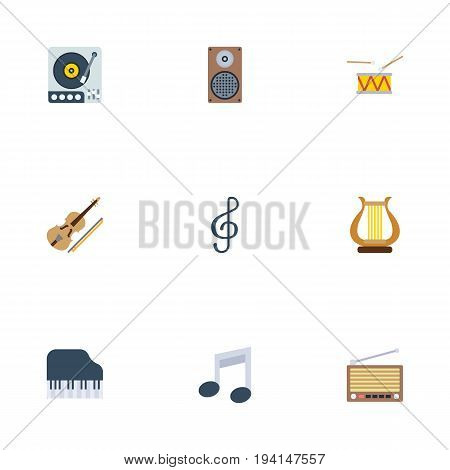 Flat Icons Fiddle, Turntable, Octave Keyboard And Other Vector Elements. Set Of Studio Flat Icons Symbols Also Includes Symbol, Speaker, Audio Objects.