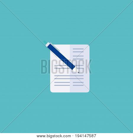Flat Icon Document With Pen Element. Vector Illustration Of Flat Icon Contract Isolated On Clean Background. Can Be Used As Contract, Pen And Document Symbols.