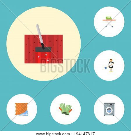 Flat Icons Housewife, Laundromat, Gauntlet And Other Vector Elements. Set Of Hygiene Flat Icons Symbols Also Includes Washing, Laundromat, Cloth Objects.