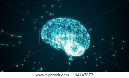 Human Brain Being Formed By Revolving Particles. 3D Illustration
