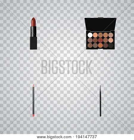 Realistic Pomade, Multicolored Palette, Mouth Pen And Other Vector Elements. Set Of Greasepaint Realistic Symbols Also Includes Multicolored, Blending, Stick Objects.