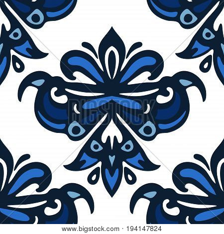 Luxury Damask flower vintage background. Blue and white damask luxury seamless pattern. Abstract ornamental vector for fabric