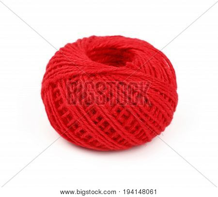 One Red Twine Jute Coil Bobbin Isolated On White