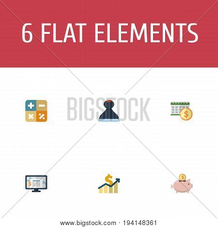 Flat Icons Algebra, Accounting System, Net Income And Other Vector Elements. Set Of Registration Flat Icons Symbols Also Includes System, Increase, Model Objects.
