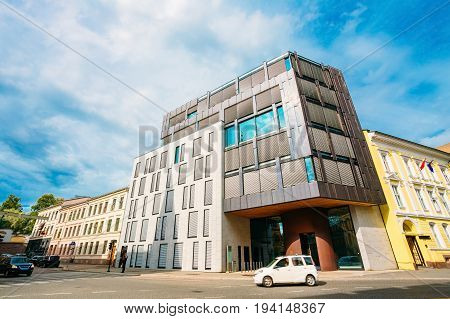 Oslo,Norway - Jule 31, 2014:Oslo Norway. The Typical Example Of Scandinavian Architecture - Exterior Office Building Business Center On Pilestredet Street Under Blue Sky.