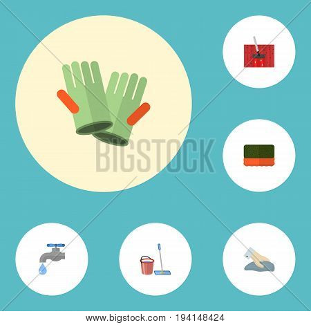 Flat Icons Faucet, Carpet Vacuuming, Wisp And Other Vector Elements. Set Of Cleaning Flat Icons Symbols Also Includes Carpet, Gloves, Sponge Objects.
