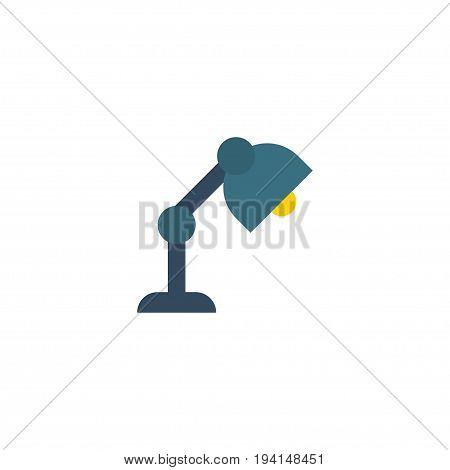 Flat Icon Table Lamp Element. Vector Illustration Of Flat Icon Desk Light Isolated On Clean Background. Can Be Used As Table, Lamp And Light Symbols.