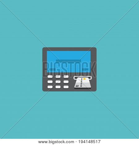Flat Icon Teller Machine Element. Vector Illustration Of Flat Icon Atm Isolated On Clean Background. Can Be Used As Atm, Bank And Machine Symbols.