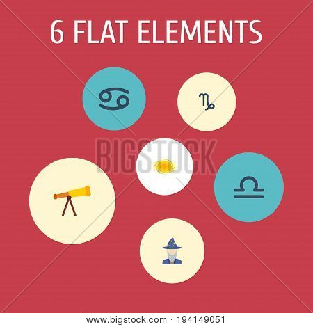Flat Icons Optics, Crab, Scales And Other Vector Elements. Set Of Astrology Flat Icons Symbols Also Includes Binoculars, Scales, Optics Objects.