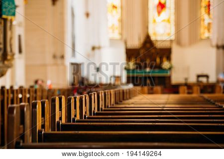 Riga,Latvia - Jule 2, 2016: Riga Latvia. Interior Of The Riga Dom Dome Cathedral. Church Pews.