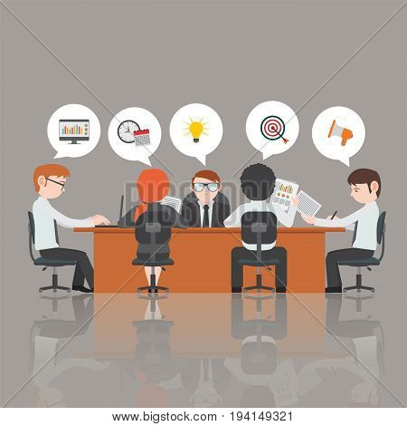 Business people decide to eat at the table