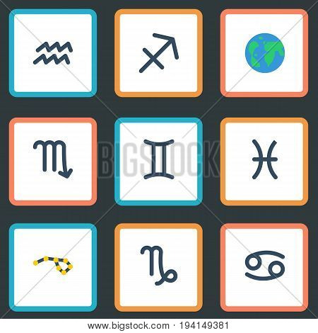 Flat Icons Fishes, Horoscope, Goat And Other Vector Elements. Set Of Astronomy Flat Icons Symbols Also Includes Water, Horoscope, Globe Objects.