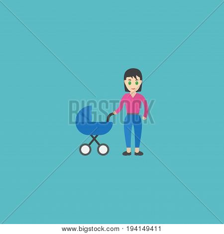 Flat Icon Perambulator Element. Vector Illustration Of Flat Icon Stroller Isolated On Clean Background. Can Be Used As Stroller, Baby And Mother Symbols.
