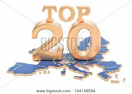 European Top 20 concept 3D rendering isolated on white background