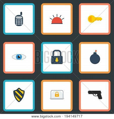 Flat Icons Explosive, Vision, Clue And Other Vector Elements. Set Of Safety Flat Icons Symbols Also Includes Lock, Shield, Vision Objects.