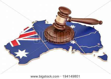 Wooden Gavel on map of Australia 3D rendering isolated on white background