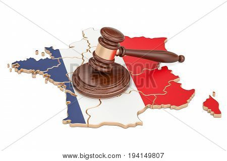 Wooden Gavel on map of France 3D rendering isolated on white background