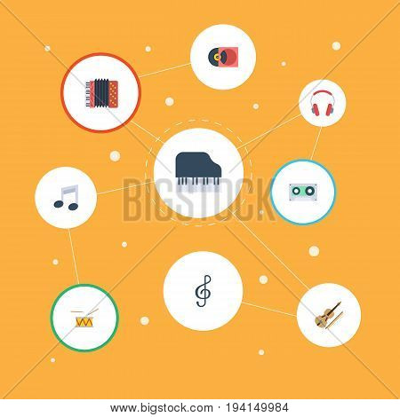 Flat Icons Tape, Tone Symbol, Fiddle And Other Vector Elements. Set Of Music Flat Icons Symbols Also Includes Earphone, Orchestra, Cassette Objects.