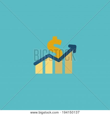 Flat Icon Profit Element. Vector Illustration Of Flat Icon Net Income  Isolated On Clean Background. Can Be Used As Profit, Increase And Dollar Symbols.