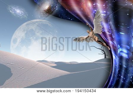 Surreal white desert with dry tree, galaxies and big moon at the horizon. Naked man with wings represents angel. Warped space.  Some elements image credit NASA