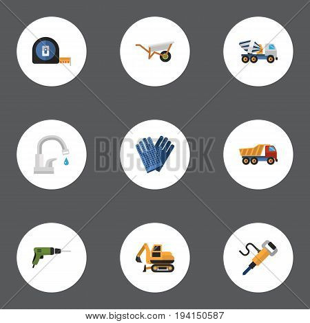 Flat Icons Tractor, Pneumatic, Faucet And Other Vector Elements. Set Of Construction Flat Icons Symbols Also Includes Measure, Screwdriver, Work Objects.