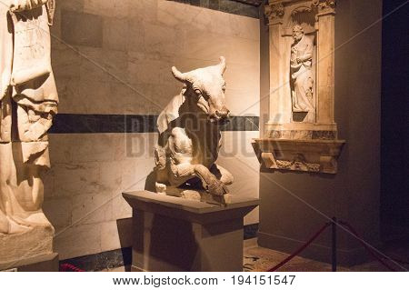 Italy Siena - December 26 2016: the view of the sculptures by Giovanni Pisano and his school in Museo dell'Opera Metropolitana del Duomo on December 26 2016 in Siena Tuscany Italy.
