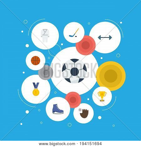 Flat Icons Kettlebells, Reward, Glove And Other Vector Elements. Set Of Activity Flat Icons Symbols Also Includes Champion, Field, Trophy Objects.