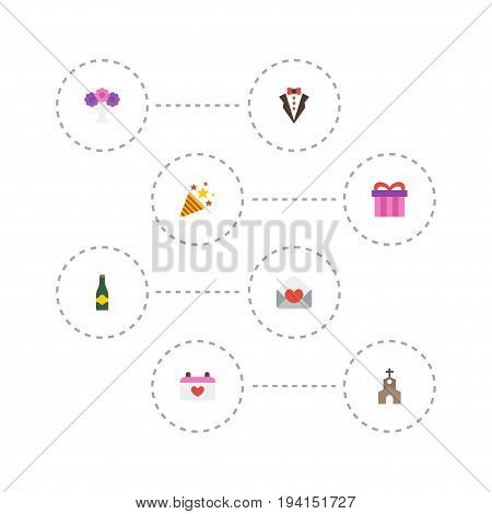 Flat Icons Posy, Calendar, Present And Other Vector Elements. Set Of Ceremony Flat Icons Symbols Also Includes Card, Church, Suit Objects.